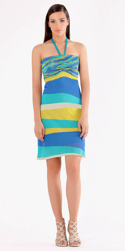 Blue Printed Silk Jersey Dress