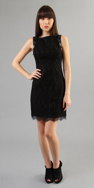 Sleeveless Black Lace Dress