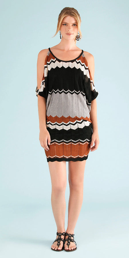 Ruffle Off Shoulder Striped Sundress