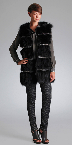 Black Rhinestone Studded Fox Fur Vest