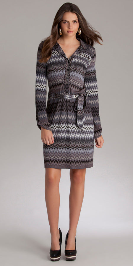 Black & Blue Printed Jersey A Line Dress