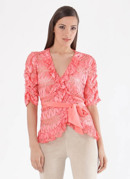 Coral Pink Textured Lace Wrap Top