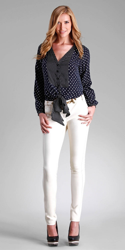 Long Sleeve Navy & White Polka Dot Silk Blouse
