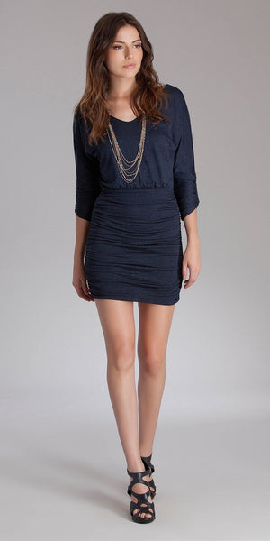 Blue Fitted Jersey Knit Dress