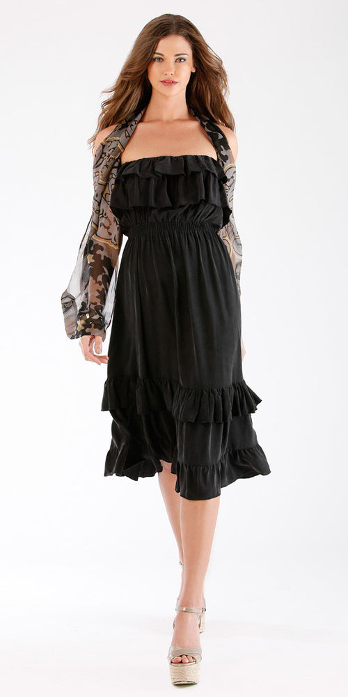 Black Ruffled Strapless Sundress