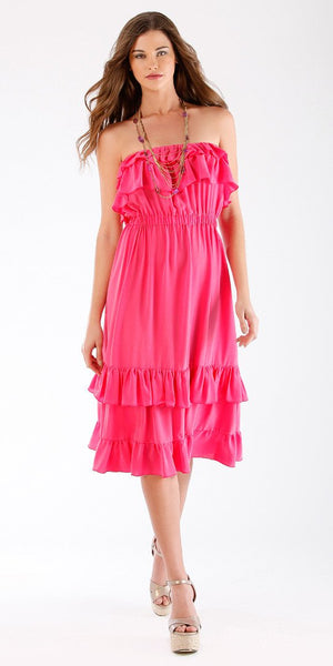 Ruffled Silk Strapless Dress