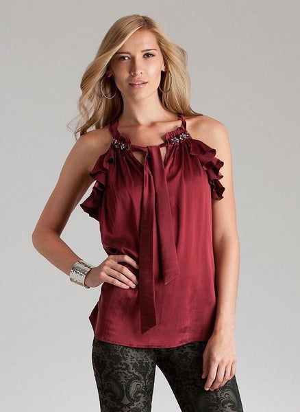 Red Sleeveless Ruffled Silk Top