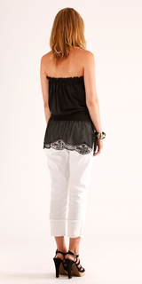Black Strapless Silk Cotton Crochet Top