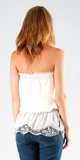 Ivory White Strapless Silk Cotton Crochet Top