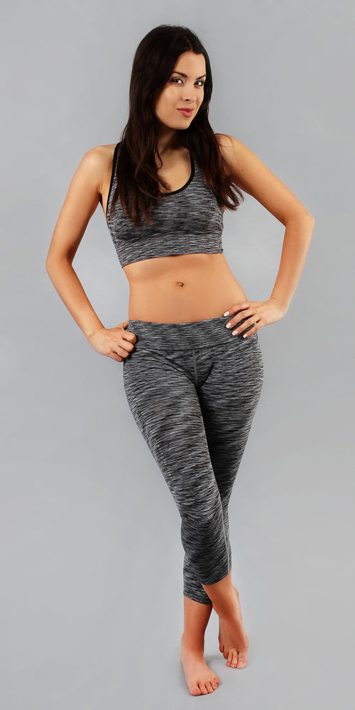 Grey Sports Bra & Capri Active Wear Set