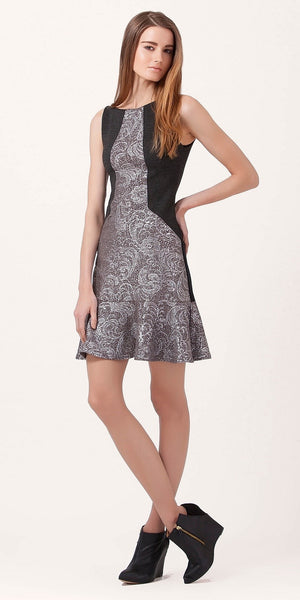 Metallic Matelassé Peplum Dress