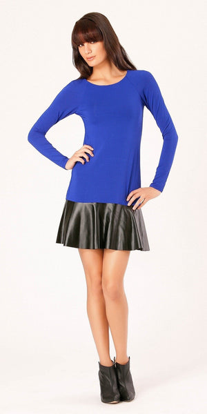 Blue Jersey Knit Peplum Dress