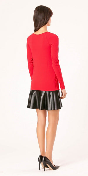 Red Jersey Knit Peplum Dress