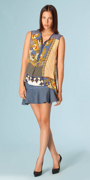 Blue High Low Silk Floral Blouse