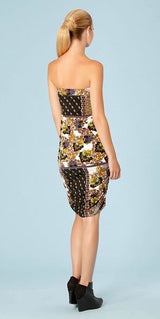 Black Strapless Floral Dress