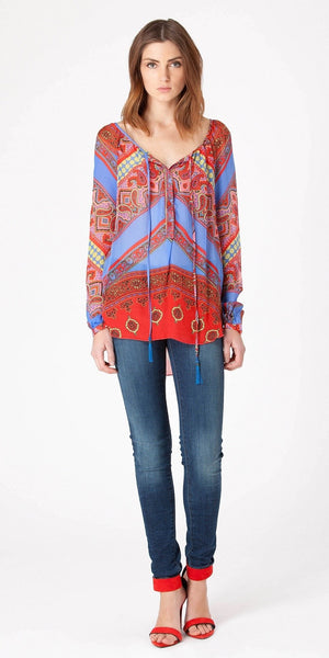 Red & Blue Silk Chiffon Blouse