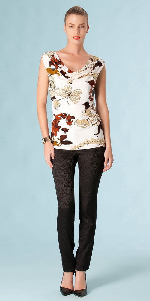 Brown & White Floral Print Short Sleeve Top