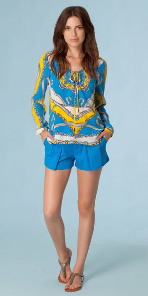 Blue Pleated Cotton Poplin Shorts