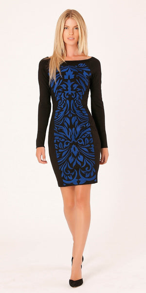 Blue Fitted Embroidered Dress