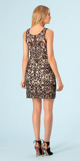 Black Embroidered Mesh Dress