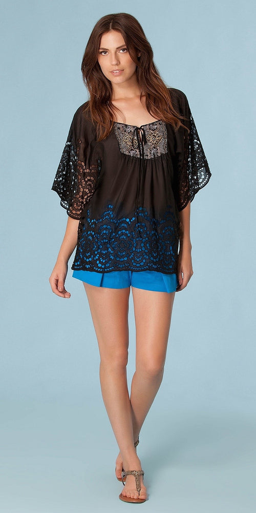 Black Bead Embroidered Silk Cotton Tunic