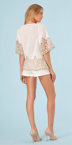 Ivory Bead Embroidered Silk Cotton Tunic