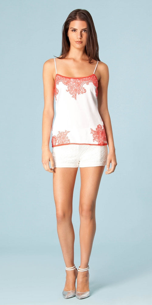 Lace Trimmed Silk Charmeuse Tank Top