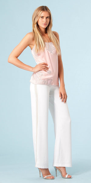 Pink Lace Trimmed Silk Charmeuse Tank Top