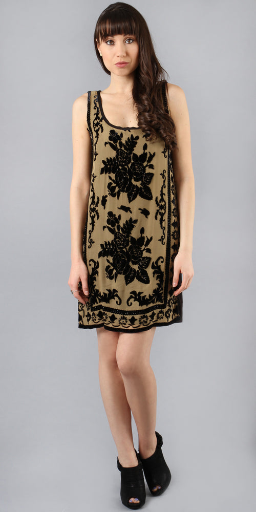 Beige Beaded Velvet Burnout Silk Dress