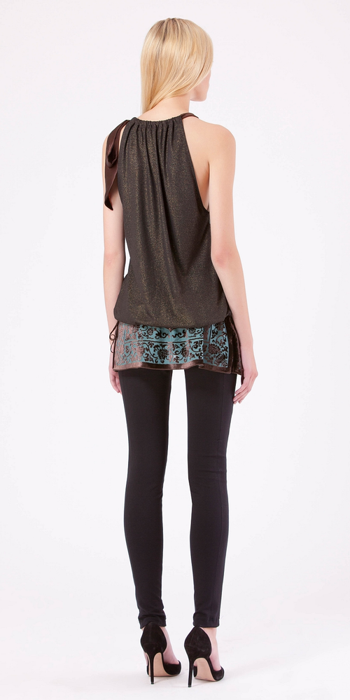 Sleeveless Teal Silk Chiffon Blouse