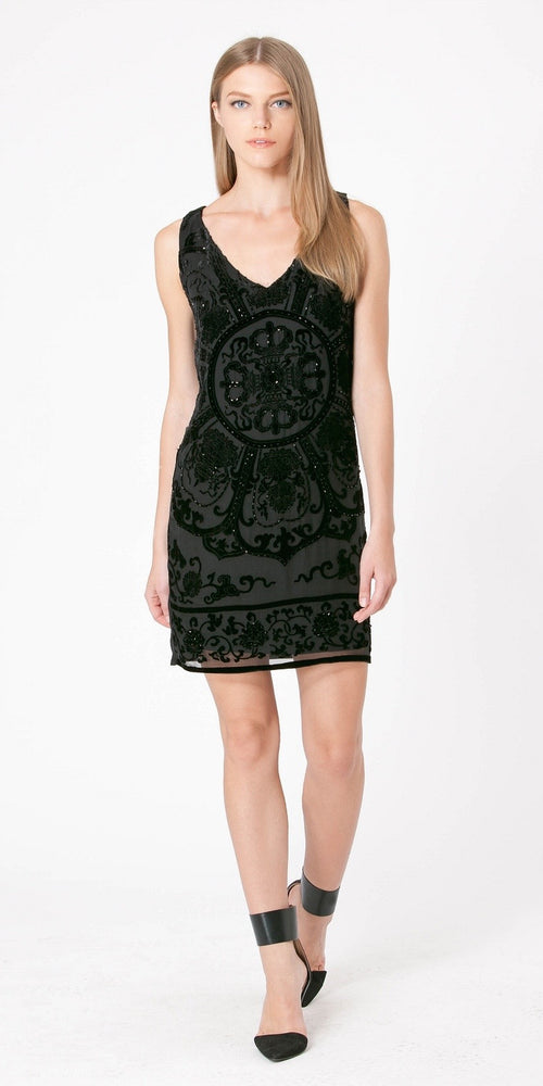 Black Beaded Velvet Burnout Silk Dress