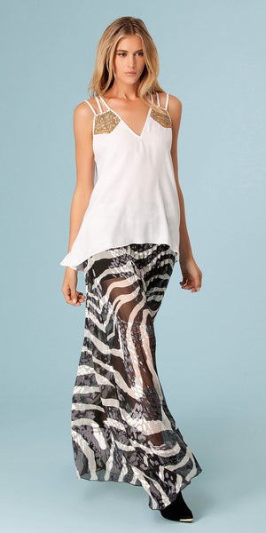 White Sequin Embroidered Silk Tank Top