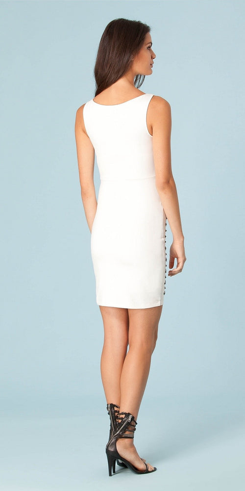 Ivory White Studded Ponte Sheath Dress