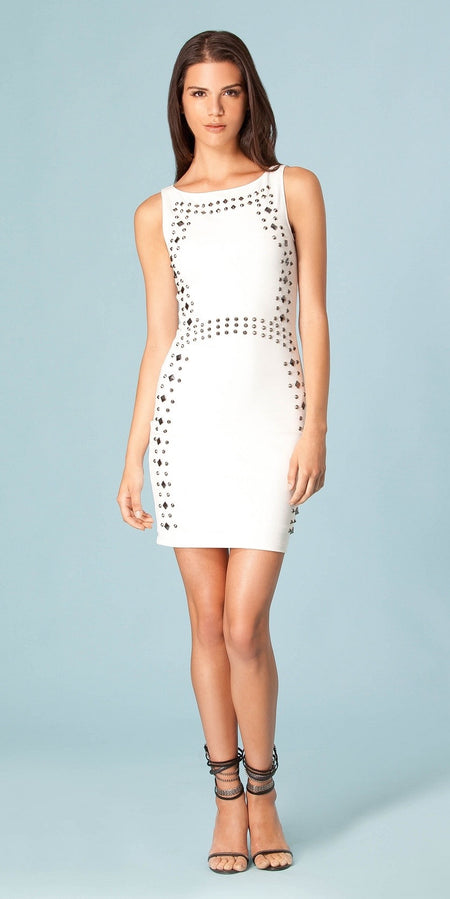 Fitted Butterfly Lace Crepe Dress