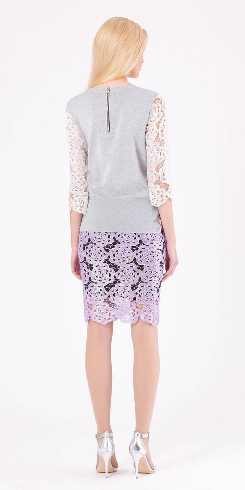Ivory Sequin Embroidered Lace Knit Top