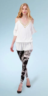 White Cold Shoulder Silk Crepe Tunic