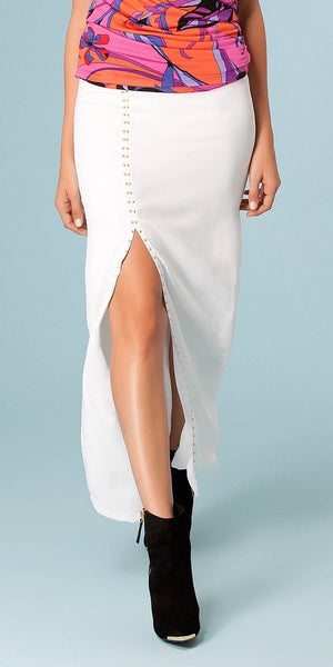 White Studded Maxi Skirt