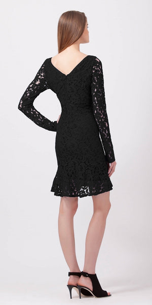 Black Long Sleeve Fitted Peplum Lace Dress