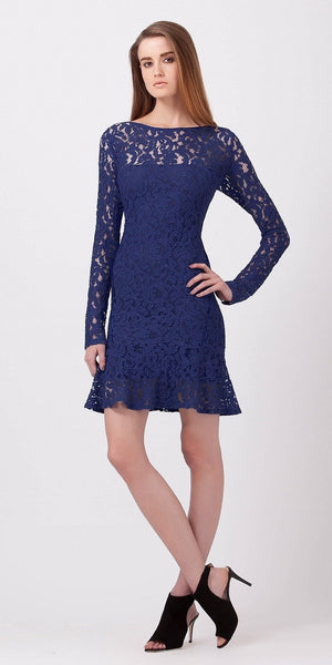 Navy Blue Fitted Peplum Lace Dress