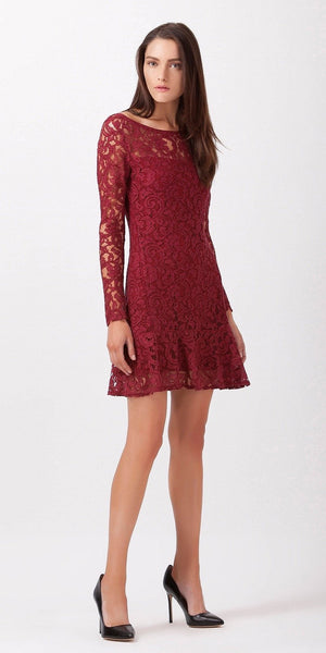 Burgundy Red Fitted Peplum Lace Dress