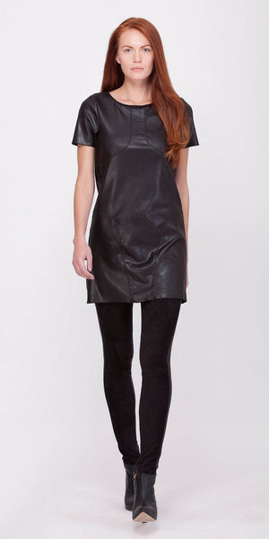 Black Short Sleeve Ultra Suede Leather Dress