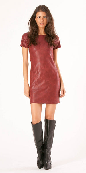 Burgundy Red Short Sleeve Ultra Suede Leather Dress