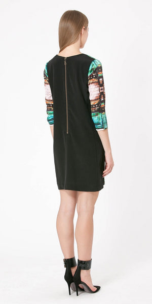 Emerald Long Sleeve Photo Printed Silk Dress