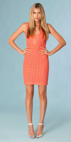 Coral Sleeveless Lace Crochet Dress