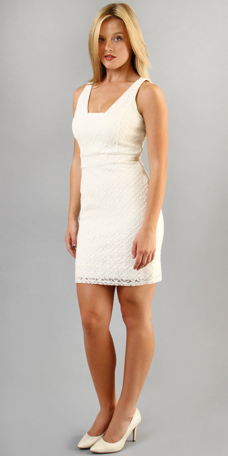Ivory Embroidered Mesh Lace Dress