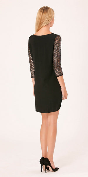 Black Metallic Lace Dress
