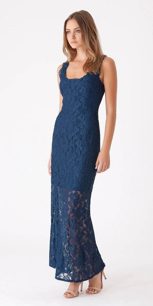 Navy Blue Sleeveless Lace Maxi Dress