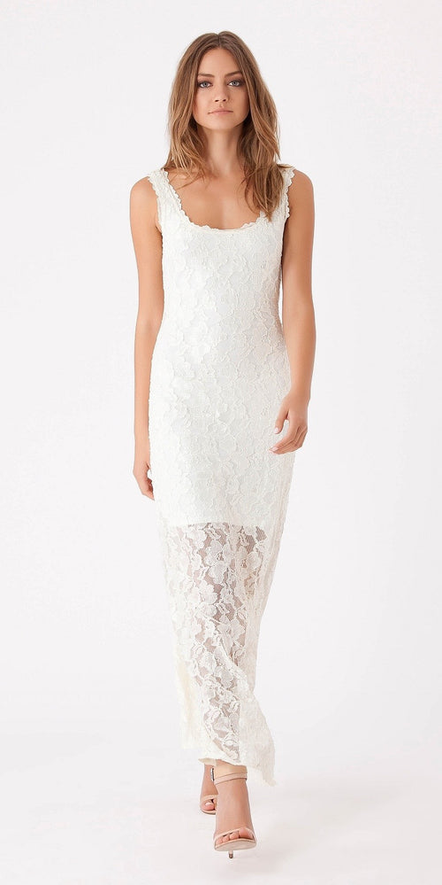 Sleeveless Ivory Lace Maxi Dress