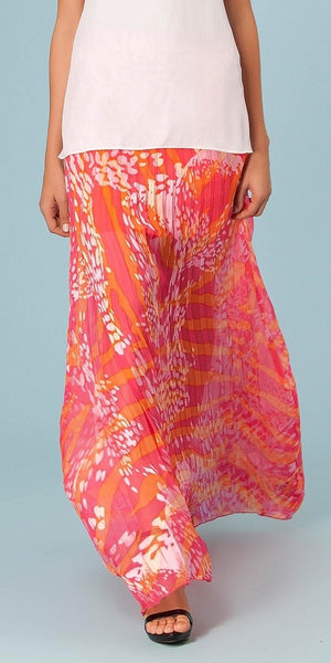 Pink Pleated Zebra Print Maxi Skirt