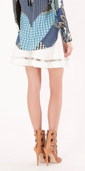 White Jacquard Knit A Line Mini Skirt